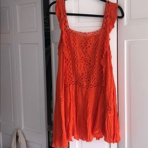 Free People Crochet Orange Tunic